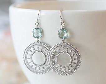 Silver Filigree Hoop Aqua Blue Earrings Round Silver Circle Dangle Earrings Boho Chic Moroccan Earrings Aqua Blue Wedding Bridal Earrings
