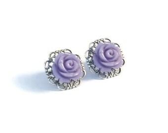 LAVENDER Resin Flower Earrings, Antique Silver Filigree Base, Rose Flower, Hypoallergenic Surgical Steel Posts - Qty 1, Pair Stud Earrings