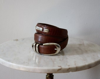 Belt Silver Brown Leather Gold - Women's XS S M - 1980s Vintage