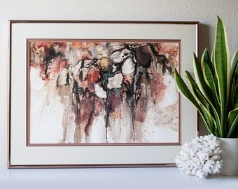 Vintage original abstract painting framed watercolor art drip splatter mixed media collage artwork