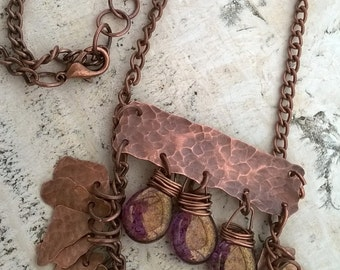 Necklace copper and Czech glass