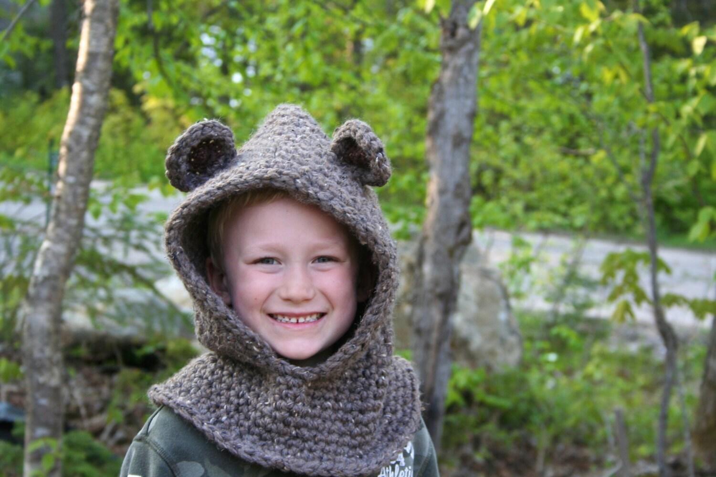Bear Cowl Knitting Pattern Free : Bear Hood Crochet PATTERN CROCHET PATTERN Bear Hooded Cowl