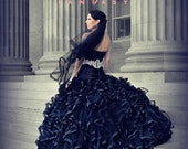 Black Wedding Dress with Gorgeous Ruffles Gothic Bridal Gown Custom Made to your Measurements