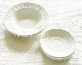 Vintage Cottage Home Snow White Filigree Ironstone Dishes, Set of 8, Olives and Doves