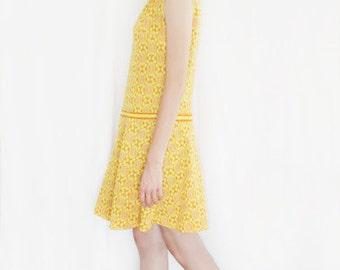 Vintage 60s Dress XL. Space Age Tennis Dress. Orange & Yellow Knit Skater Skirt. Mod Scooter Casual Dress. Mad Men Megan Dress Atlas Israel