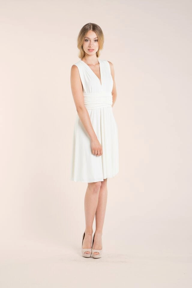 White reception dress short white wrap dress wedding zoom junglespirit Choice Image