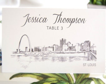 St. Louis Skyline Place Cards Personalized with Guests Names (Sold in sets of 25 Cards)