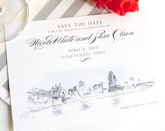 Cincinnati Skyline with Stadium and Bridge Wedding Save the Date Cards (set of 25 cards)