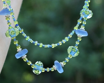 Blue Sea Glass, Sea Glass Necklace, Lampwork Necklace, Lampwork earrings, Blue Necklace, Blue Earrings , Free Shipping, Item #258