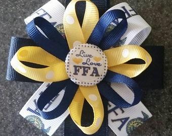 FFA Hair Bow or Headband, Future Farmers of America - 2 sizes