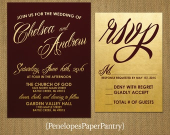 Burgundy and Gold Wedding Invitations, Elegant Script,Traditional,Sophisticated,Formal,Opt RSVP, Customizable,With Envelopes.