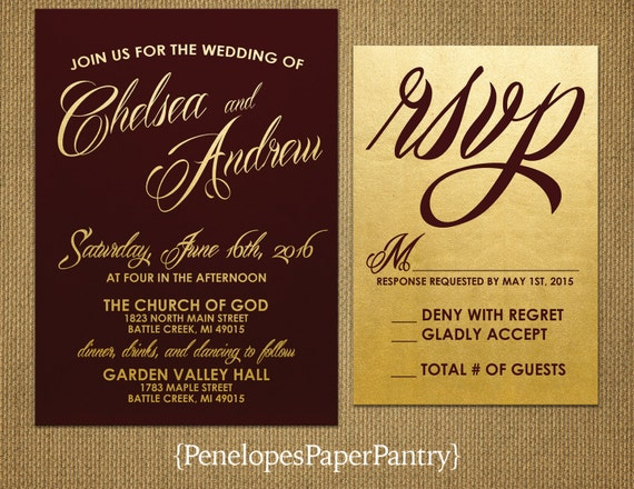 Burgundy And Gold Wedding Invitations: Wedding Invitations Burgundy And Gold By PenelopesPaperPantry