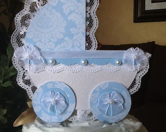 Carriage cake topper/Baby shower cake topper/Boy baby shower cake topper/Elegant topper