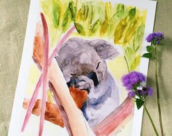 Sleeping Koala Watercolor Art Print   Koala Art   Animal Art   Home Decor   Wall Art   Nursery Art   8x10   11x14   13x19