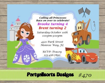DIY - Sophia and Cars Childrens/ Joint Party Invitations