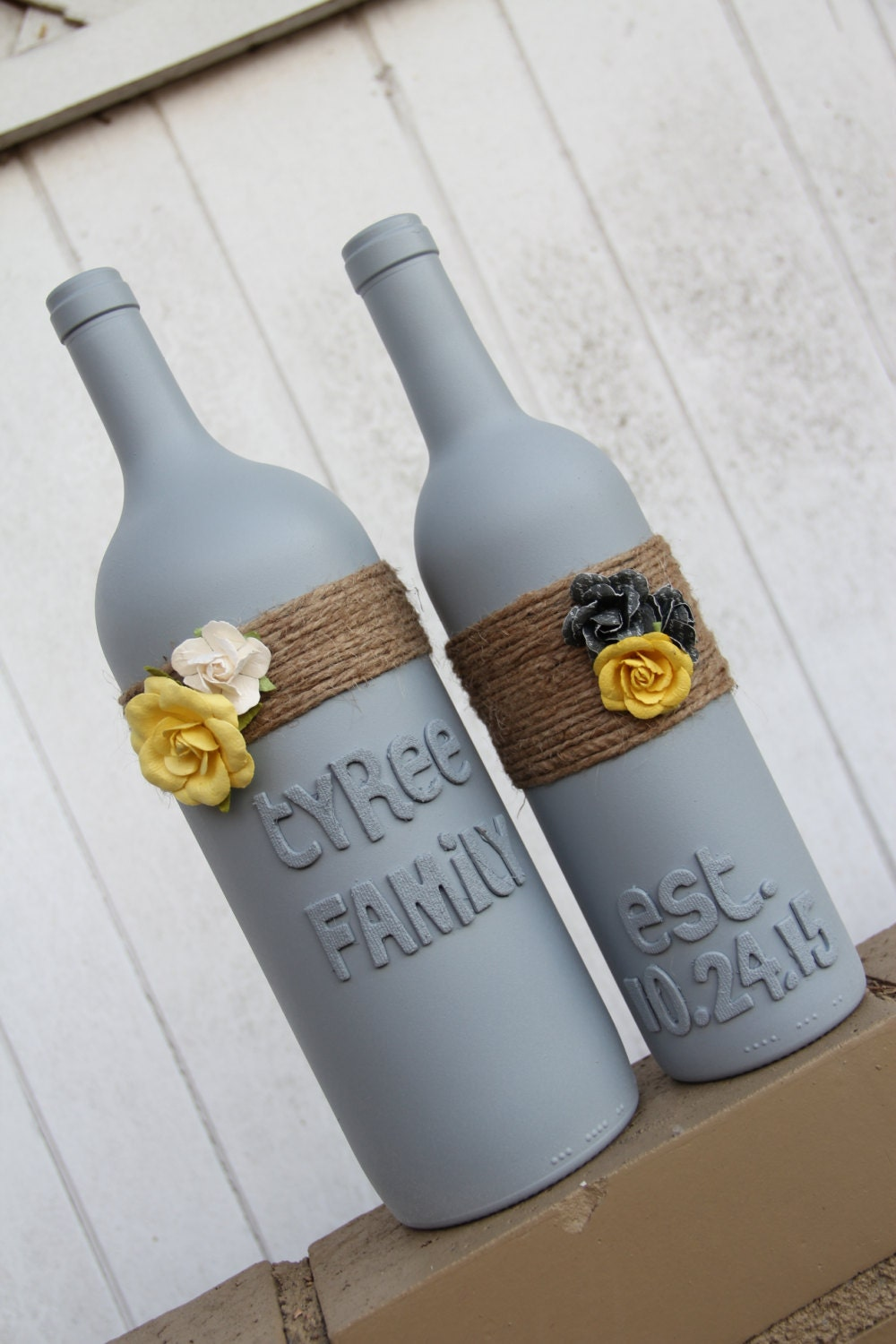 Personalised Wedding Gifts Wine : Custom Wedding Gift Wedding Wine Bottles Yellow by KGCPartyDecor