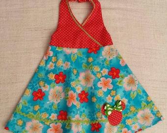 Tropical Hawaiian print girls halter dress with Minnie Mouse appliqué