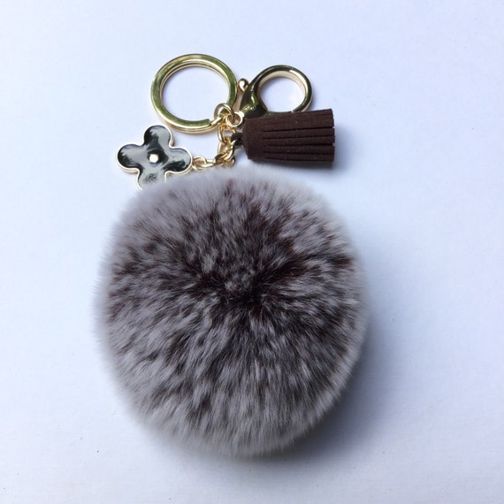 pom perfect brown frosted rex rabbit fur pom pom ball with. Black Bedroom Furniture Sets. Home Design Ideas