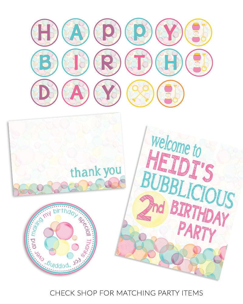 Bubble Theme Birthday Party Invitation - 5x7 [E10261624441821539M ...