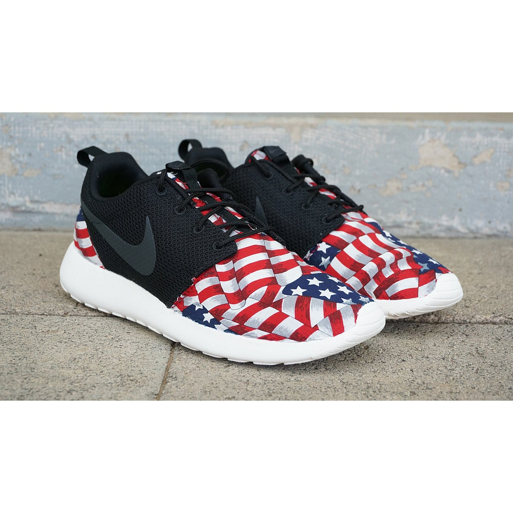 new nike roshe run custom red white blue american flag edition. Black Bedroom Furniture Sets. Home Design Ideas