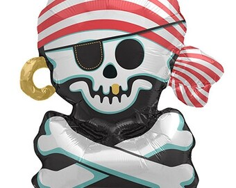 "14"" Self-Sealing Skull and Crossbones Pirate Balloon"