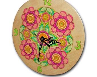 ON SALE !Clock, Mandala Clock, handmade unique clock, wood wall clock