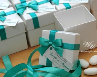 Wedding Bonbonniere - Wedding favor box with satin bow and tag - White candy box and any color of ribbon - Any Quantity - Turquoise - Mint