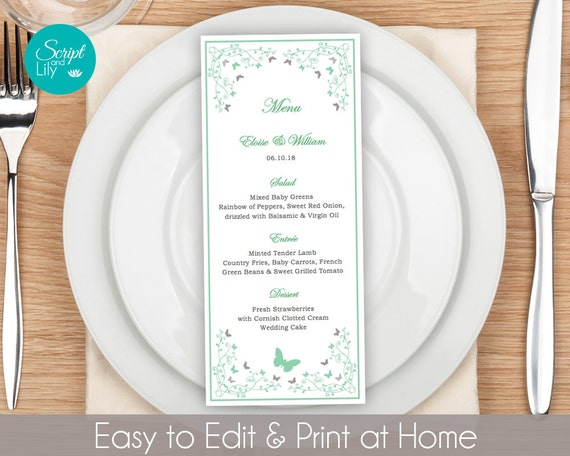 Butterfly Dinner Menu Template FREE Color Change Instant – Menu Template Word Free