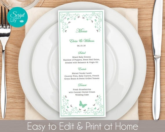 Butterfly Dinner Menu Template FREE Color Change Instant – Free Word Menu Template