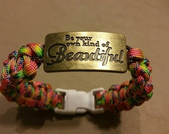 Quote Paracord Bracelet, Be Your Own Kind Of Beautiful