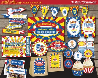 PDF format-Instant Download-Circus birthday Party Printable-Complete Party Pack-Personal Use only