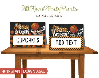 Instant Download-Basketball themed Tent Card printable -Food label/Place card-digital file