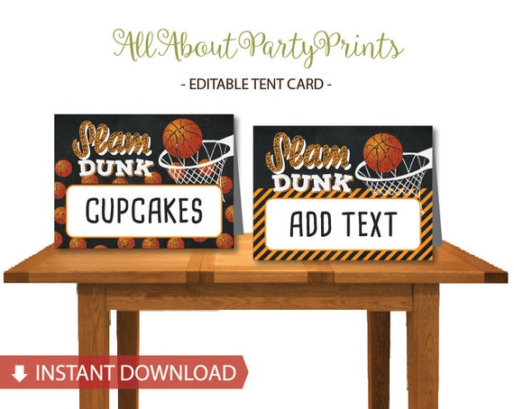 Instant Download Basketball Themed Tent Card Printable