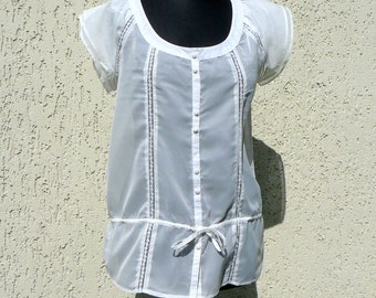 Ivory White Lace Blouse Boho Top Blouse Loose Top Medium Size