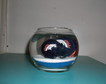 Custom Hand-Made Denver Broncos Ocean Mist Scented Gel Candle