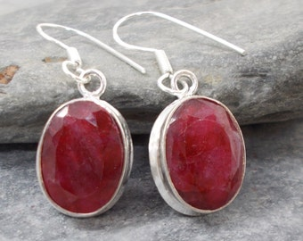 Cut Red Ruby and 925 Silver Earrings