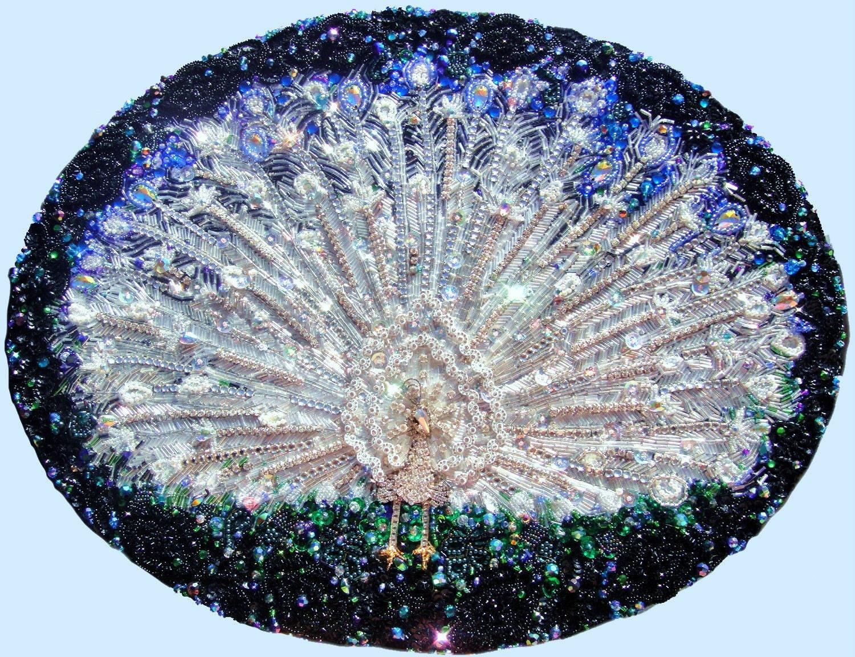 White peacock beadwork bead embroidery original art painting