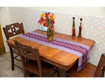 Table Runner with Natural Dyes Woven on Back-Strap Loom