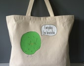 """Everyday I'm Brusselin' + heavy duty reusable canvas grocery shopping tote bag + 20""""x15"""" with 5"""" gusset"""