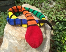 Knit toy snakes, multicolor soft snakes, washable wool toys, yarn snake toy