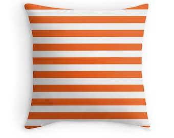 Orange White Pillow, Orange White Toss Pillow, Orange White Throw Pillow, Orange Pillow, Orange Throw Pillow, Orange Bedroom, Orange Decor