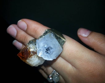 Lemurian crystal ring