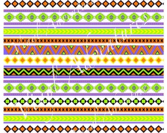 Heat Transfer Vinyl, Aztec Pattern HTV Tribal Pattern HTV, Purple Orange Green, Halloween Aztec, 1 Sheet, Siser Easyweed