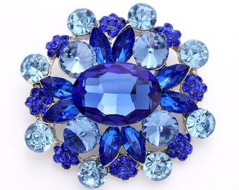 Blue Brooch Royal Blue Wedding Bridal Bouquet Brooches Big Chunky Blue Brooch DIY Jewelry Crafts Sapphire Blue Rhinestone Broaches