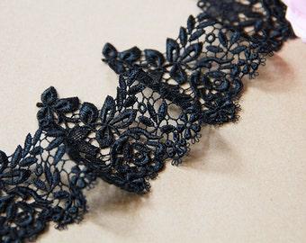 2 Yards width 3.14'' wedding lace trim, bridal lace trim, black lace trim for DIY Dress,Flowers lace(69-95)
