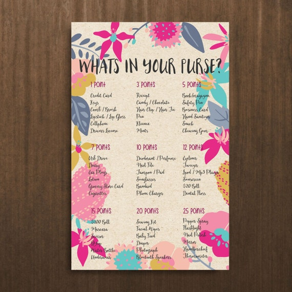 In your purse game bridal shower games printable bridal shower games