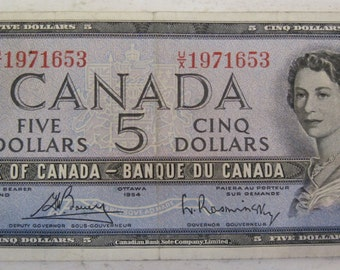 1954 Canada 5 dollars note early vintage rarity #92e