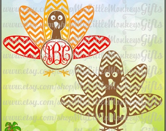 Chevron Turkey Multicolor Monogram Base Digital Clipart Instant Download SVG DXF EPS Jpeg Png