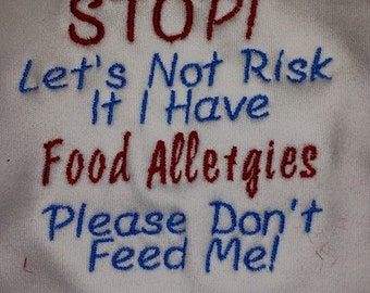 Embroidered Bibs for Allergy Warnings - lots of styles available or make your own up