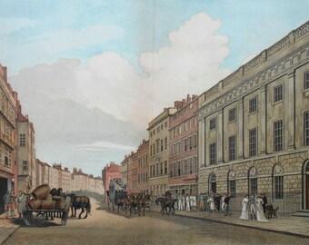 East India Company c.1726, Leadenhall Street London.1888 Lithograph after Malton. Original Vintage.